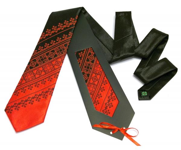 Галстук з вишивкою Червоно-чорний дует