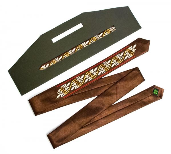 Вузький галстук з вишивкою Дзета