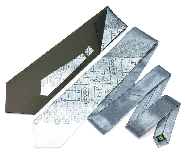 Краватка з вишивкою Сіре Тріо