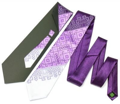 Краватка з вишивкою Фіолетове Тріо