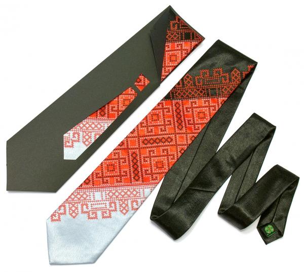 Краватка з вишивкою Чорно-червоне Тріо