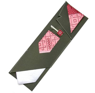 Вишита краватка з зажимом Бордове Трiо