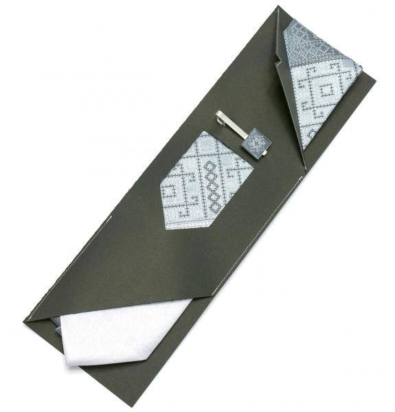 Вишита краватка з зажимом Сіре Тріо