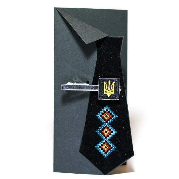 Вишитий зажим для краватки з тризубом (чорний)