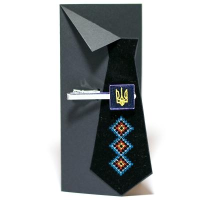 Вишитий зажим для краватки з тризубом (синій)