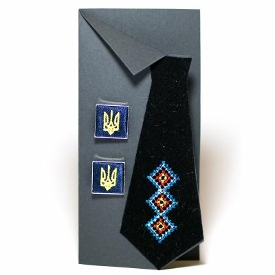 Вишиті запонки з тризубом (сині)