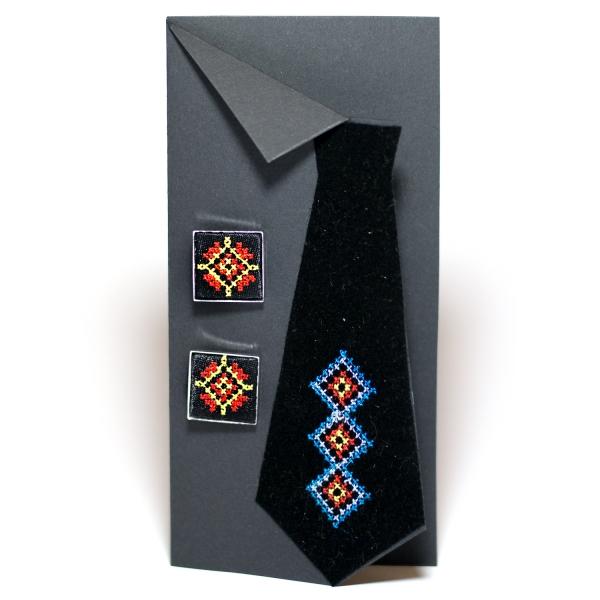 Вишиті запонки з орнаментом (чорні)