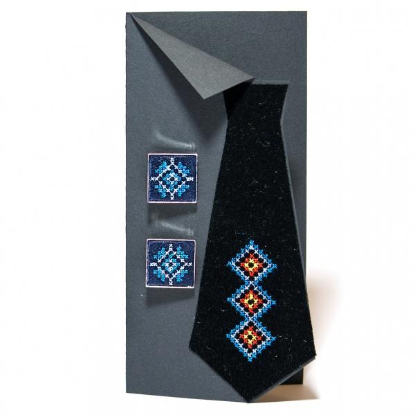 Вишиті запонки з орнаментом (сині)