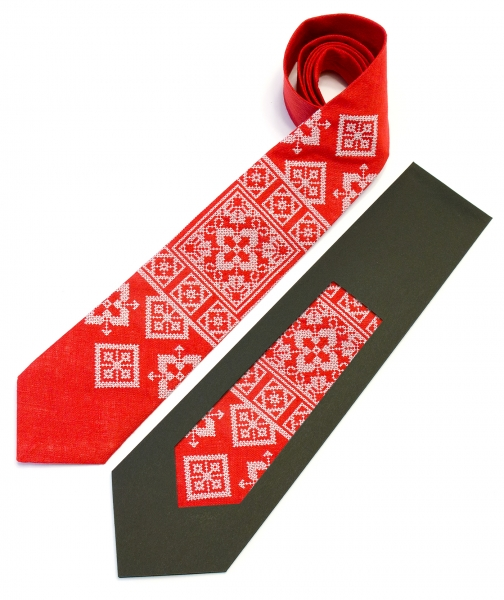 Вишита краватка з льону Колун
