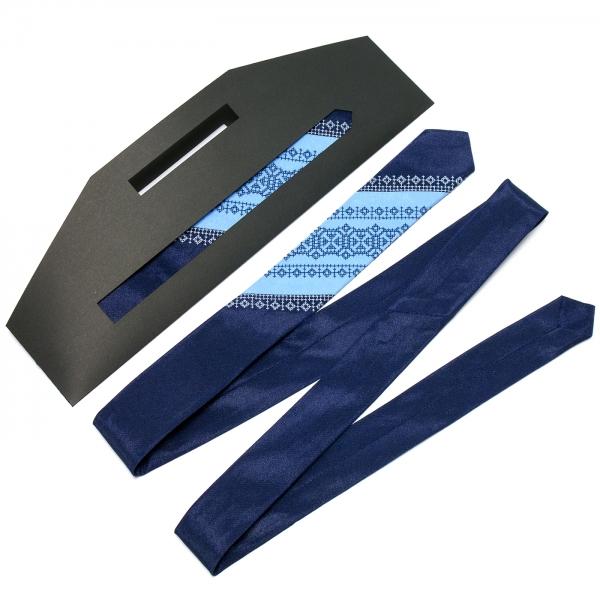 Тонка оригінальна вишита краватка №656