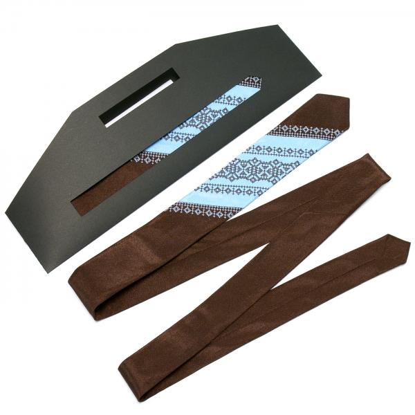 Тонка оригінальна вишита краватка №657