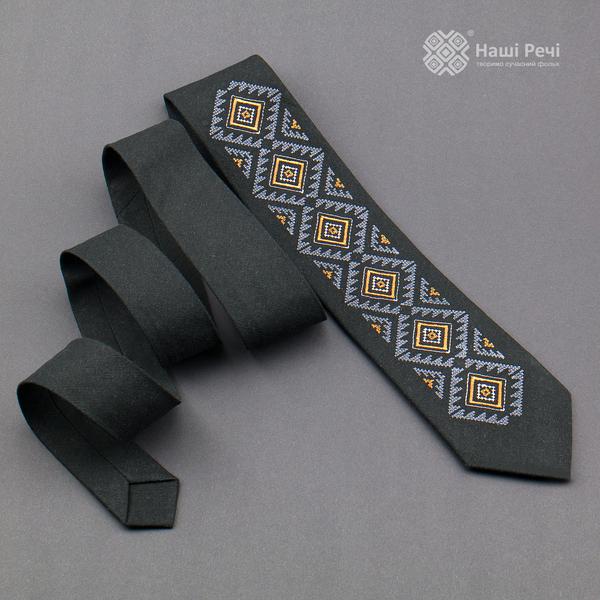 Вишита краватка з льону №926