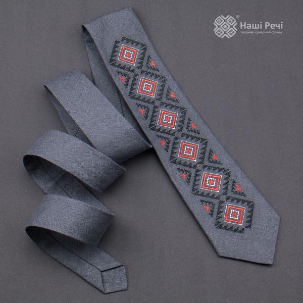 Вишита краватка з льону №928