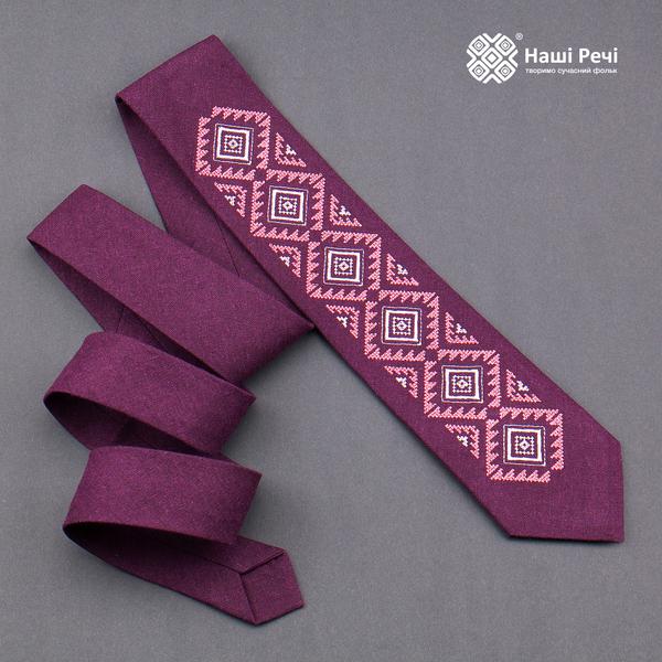 Вишита краватка з льону №930