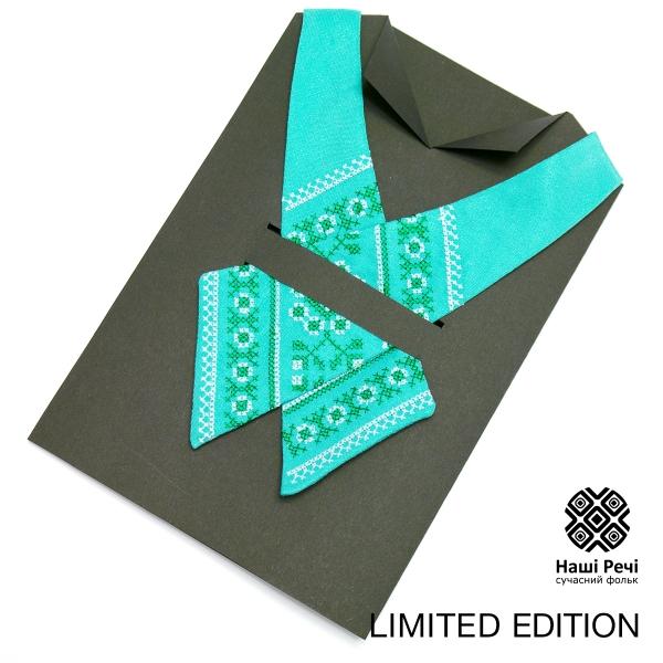 М'ятна крос-краватка з вишивкою. Лімітована серія