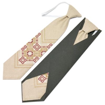 Дитяча вишита краватка з льону №672