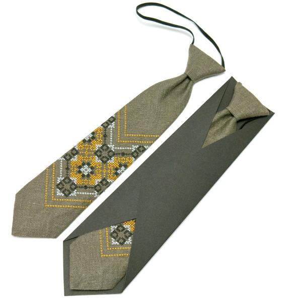 Дитяча вишита краватка з льону №673