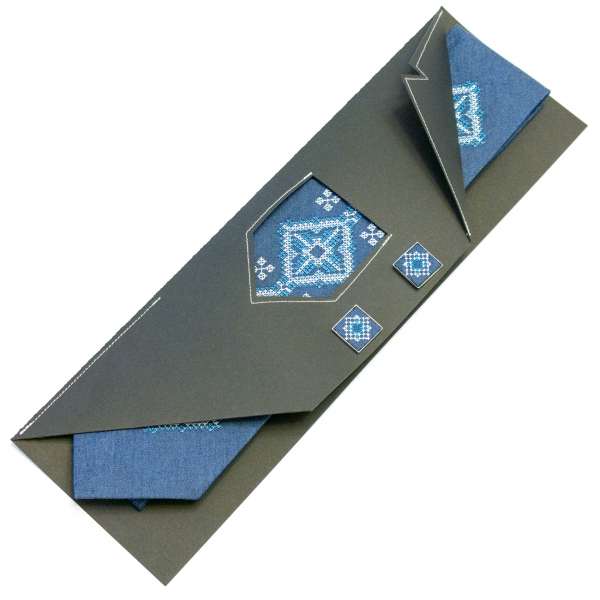 Джинсова краватка із запонками Поле