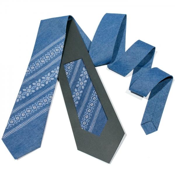 Джинсова вишита краватка №683