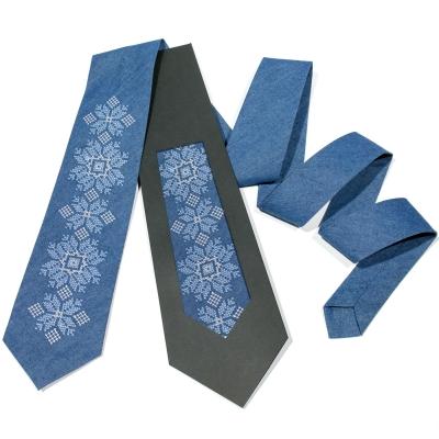 Джинсова вишита краватка №684