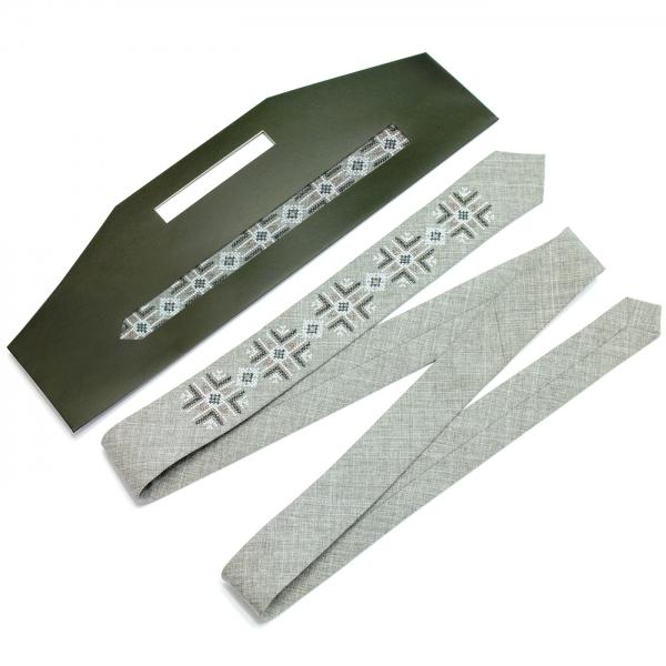 Вузька вишита краватка Хмель