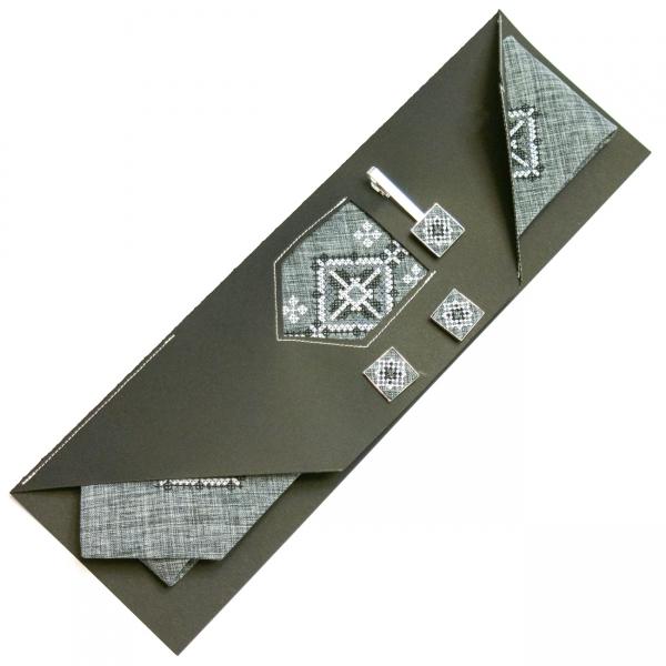 Вишитий набір Моргач. Краватка + зажим + запонки