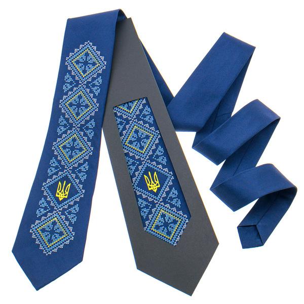 Вишита краватка з тризубом №820