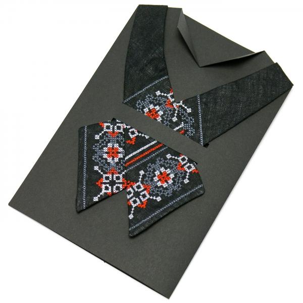 Вишита крос-краватка з льону №668