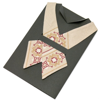 Вишита крос-краватка з льону №669