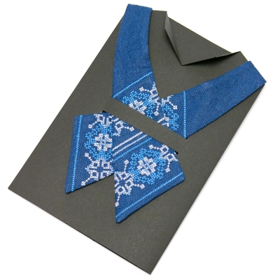 Вишита крос-краватка з льону №670