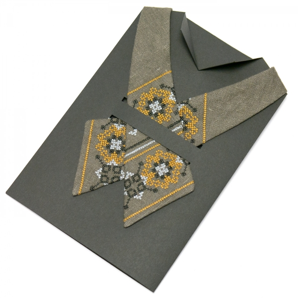 Вишита крос-краватка з льону №671