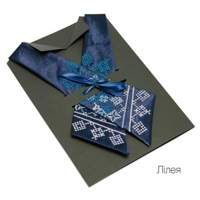 Крос-галстук з вишивкою Лілея