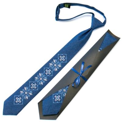 Підліткова джинсова краватка з вишивкою №709