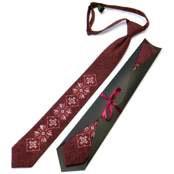 Підліткова краватка з вишивкою бордова №711