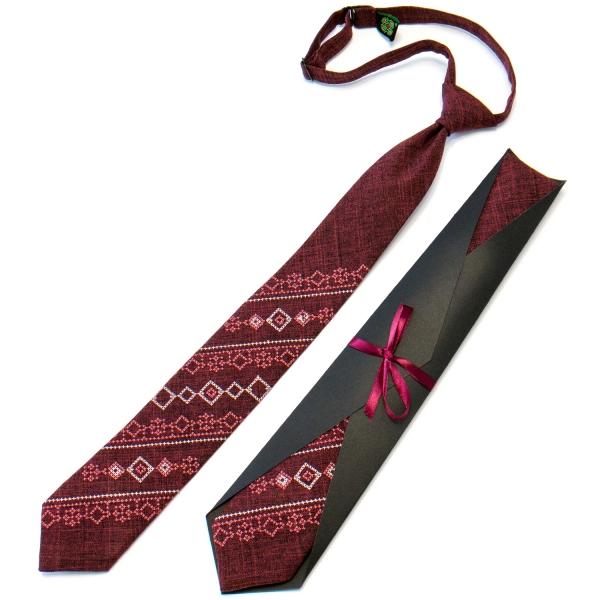 Підліткова краватка з вишивкою бордова №712