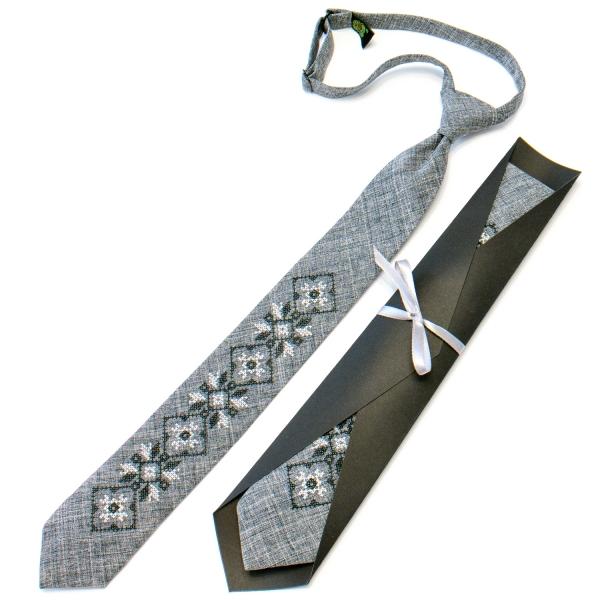 Підліткова краватка з вишивкою сіра №713