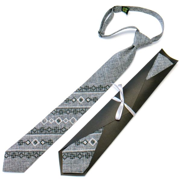 Підліткова краватка з вишивкою сіра №714