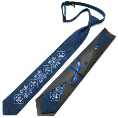 Підліткова краватка з вишивкою синя №715