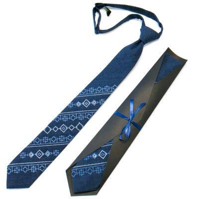 Підліткова краватка з вишивкою синя №716