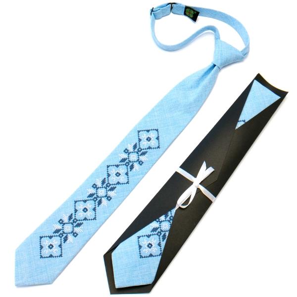 Підліткова краватка з вишивкою блакитна №717