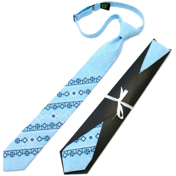 Підліткова краватка з вишивкою блакитна №718