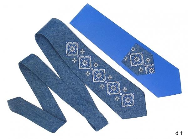 Джинсовий галстук з вишивкою Радим