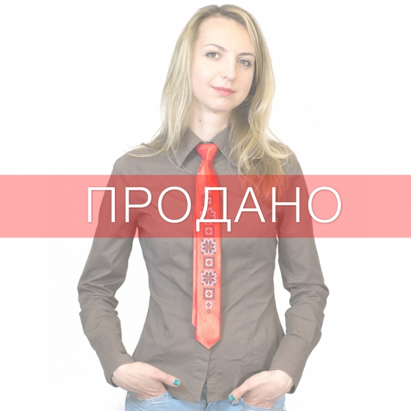 Вузький галстук з вишивкою Ружа
