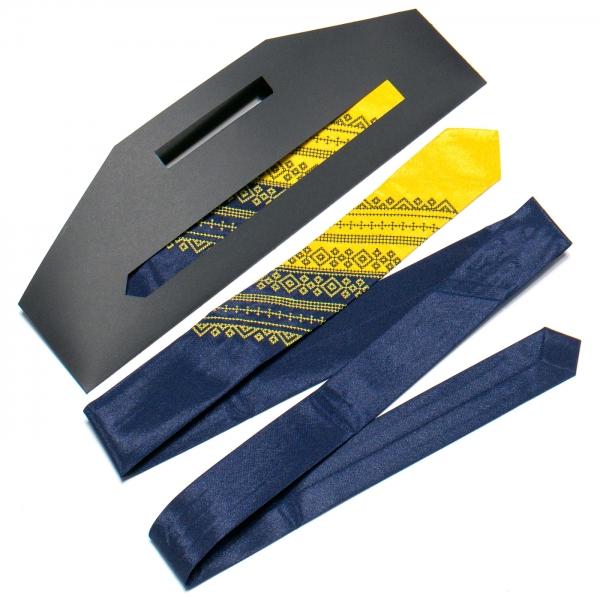 Галстук з вишивкою Синьо-жовтий дует (вузький)