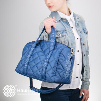Вишита сумка-бочонок синя №771