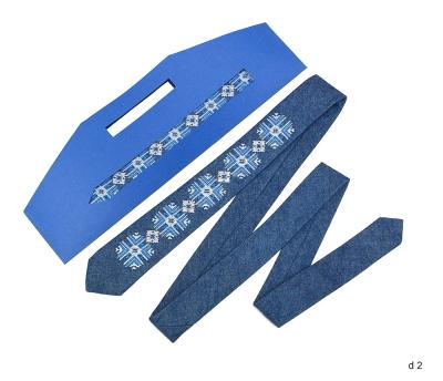 Джинсовий галстук з вишивкою Світан