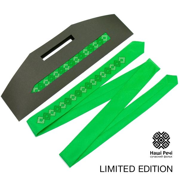 Зелена тонка краватка з вишивкою. Лімітована серія