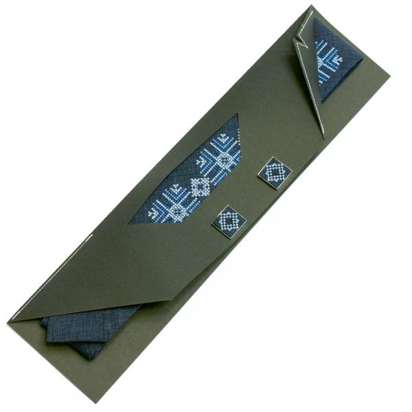 Вузька вишита краватка із запонками Звідан
