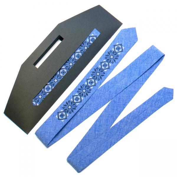 Вузька вишита краватка №734
