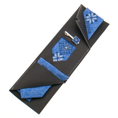 Вишита краватка з хустинкою та зажимом №864